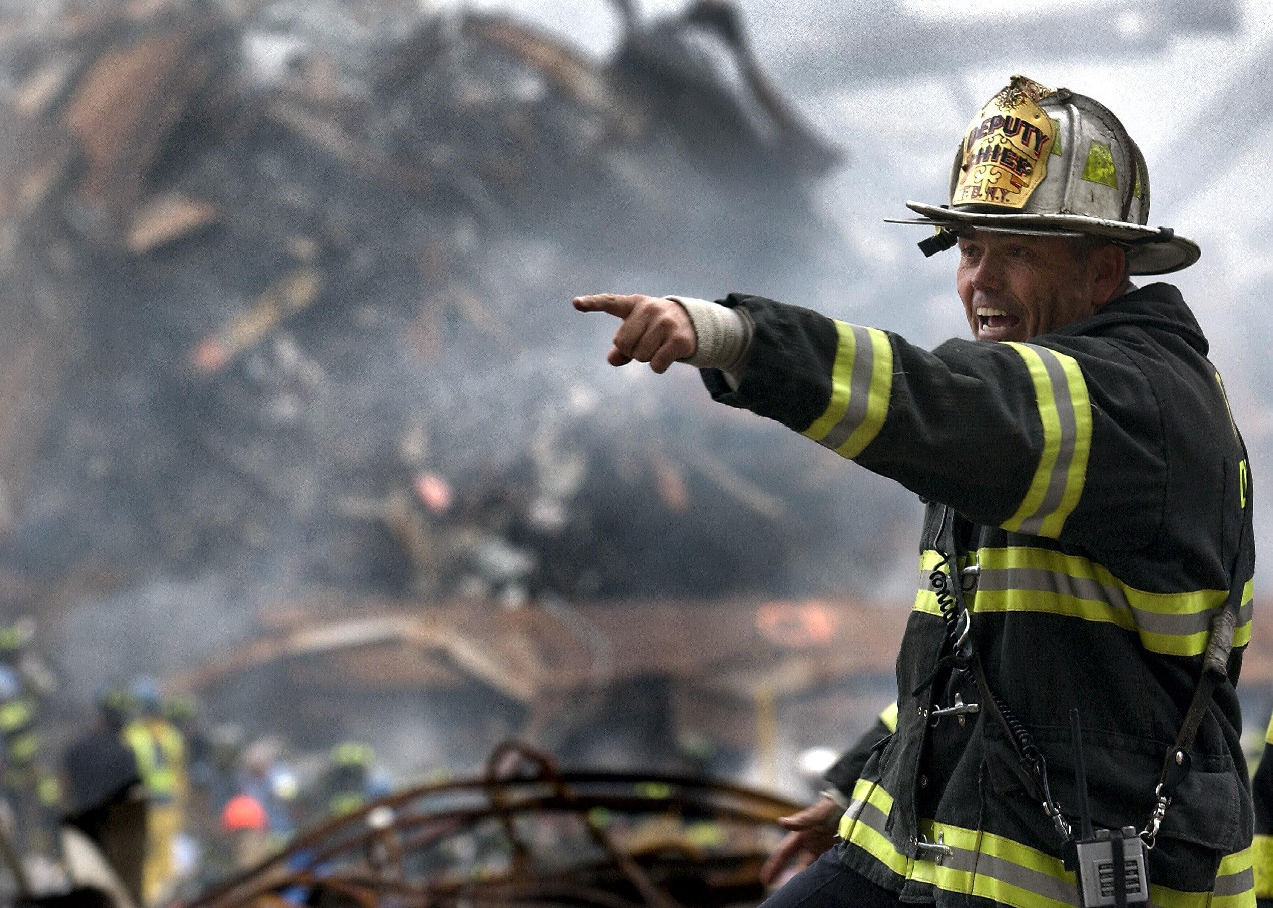 Firefighter in wreckage